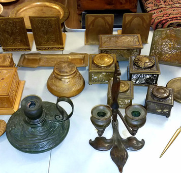 HUGE Collection of Tiffany Studios Bronze Desk Accessories!