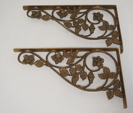 PAIR OF BRONZE SHELF BRACKETS WITH OPENWORK DESIGNS OF FLOWERS AND LEAVES. 18 X