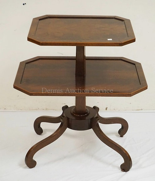 2 TIER MAHOGANY TABLE HAVING LINE INLAID SCROLL LEGS. 26 INCHES WIDE. 29 INCHES