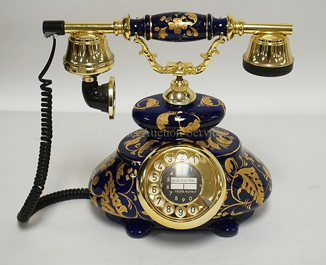 GURAL PORCELAIN TELEPHONE MEASURING 11 INCHES HIGH.