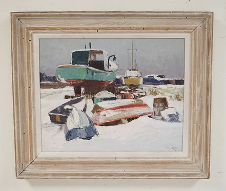 KEN MOORE OIL PAINTING ON BOARD TITLED *WINTER AT PINE POINT*. 19 1/4 X 16 1/4 I
