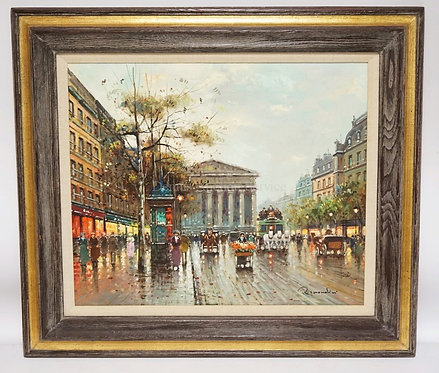 OIL PAINTING ON CANVAS OF A PARISIAN STREET SCENE. SIGNED *REMONDINI* LOWER RIGH