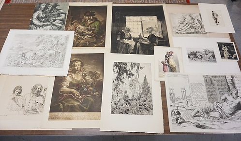 LOT OF 13 PRINTS AND ETCHINGS. SOME PENCIL SIGNED. LARGEST IS APPROX 19 X 16 INC