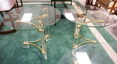 PAIR OF CHARLES HOLLIS JONES MODERN LAMP TABLES WITH BRASS AND LUCITE BASES AND