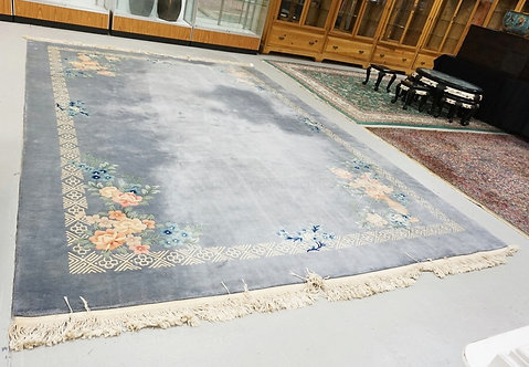 ROOM SIZE CHINESE SCULPTED RUG DECORATED WITH FLOWERS. 10 FT 10 INCHES X 14 FT 3