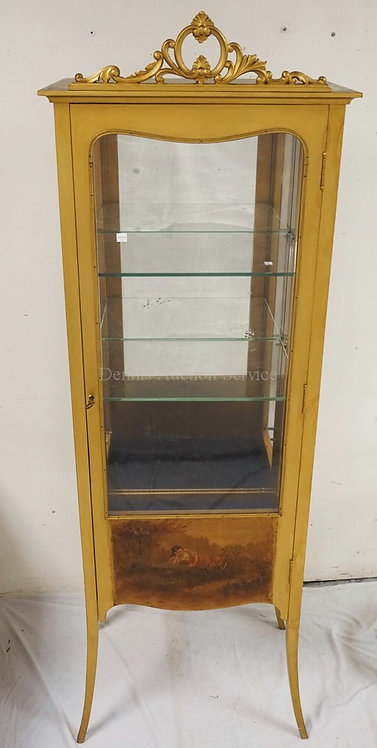VERNIS MARTIN STYLE CURIO CABINET. 70 INCHES HIGH. 24 1/2 INCHES WIDE.