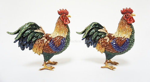 PAIR OF JAY STRONGWATER ENAMELED ROOSTERS DECORATED WITH SWAROVSKI CRYSTALS. 6 I