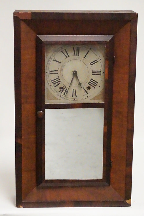 GOODWIN & FRISBIE MAHOGANY CASED MANTEL CLOCK. SOME VENER LOSSES. HAS WEIGHTS AN
