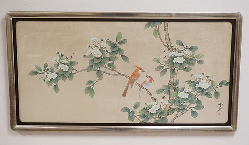 ASIAN PAINTING TITLED *BROWNBIRDS AND APRICOT BLOSSOMS* BY WONG\. CHARACTER SIGN