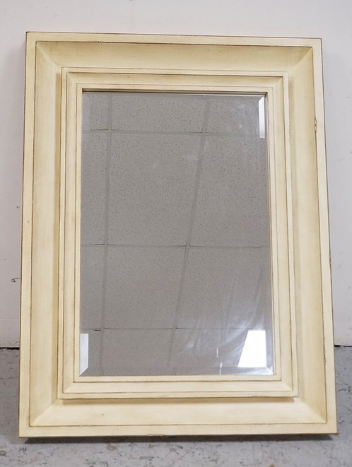 LARGE CONTEMPORARY MIRROR IN A DISTRESSED WHITE FINISH. 49 1/2 X 37 1/2 INCHES.