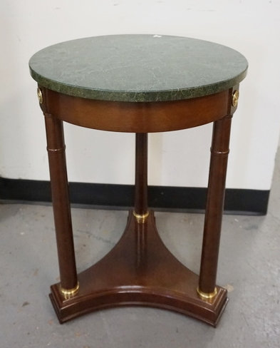ROUND MARBLE TOP STAND MEASURING 25 1/2 INCHES HIGH. 18 1/4 INCH DIA.