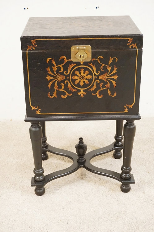 STENCIL DECORATED FILE CABINET ON HIGH LEGS. 29 1/4 INCHES HIGH.