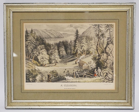 CURRIER & IVES PRINT *A CLEARING ON THE AMERICAN FRONTIER*. 11 1/4 X 8 1/4 INCH