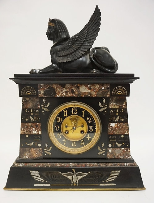 FRENCH EGYPTIAN REVIVAL MARBLE AND BRONZE CLOCK. A MARBLE CASE WITH EGYPTIAN MOT