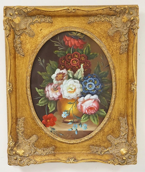 CONTEMPORARY STILL LIFE OIL PAINTING ON CANVAS OF FLOWERS. 18 3/4 X 22 1/2 INCHE