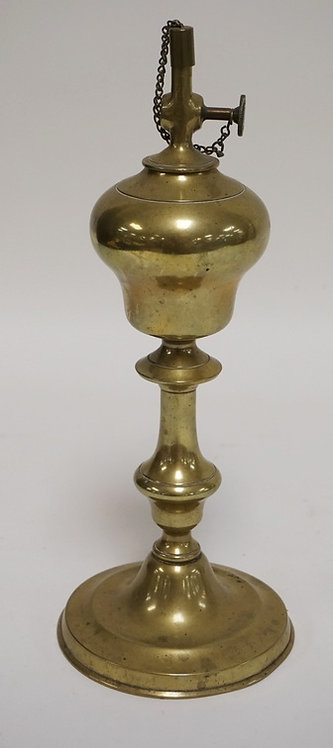 1228_BRASS OIL LAMP. BURNER DIAL READING *PV* FLAKING A SHIELD AND THE WORK *MAG