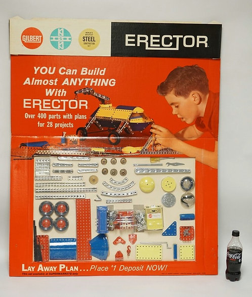VINTAGE GILBERT ERECTOR SET STORE DISPLAY SET #17022. OVER 400 SEALED PARTS INCL