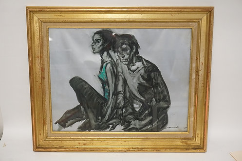 ARTIST SIGNED PAINTING OF A COUPLE. SIGNED LOWER RIGHT. 25 X 19 1/4 INCHES.