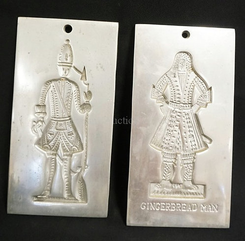 PAIR OF ALUMINUM COOKIE MOLDS MADE BY VIRGINIA METALCRAFTERS FOR COLONIAL WILLIA