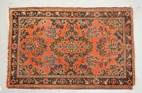 HAND MADE ORIENTAL RUG MEASURING 2 FT 10 INCHES X 1 FT 10 INCHES.