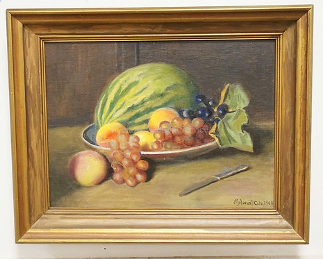 ALPHAEUS COLE STILL LIFE OIL PAINTING ON BOARD OF FRUIT. SIGNED LOWER RIGHT AND