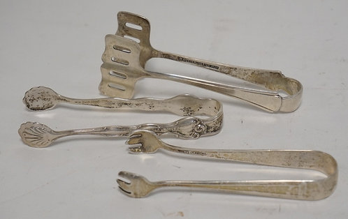 3 STERLING SILVER TONGS. 2.24 TROY OZ. LONGEST IS 4 INCHES.