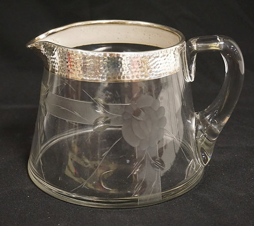 WHEEL CUT BLOWN GLASS PITCHER WITH STERLING SILVER OVERLAY. POLISHED PONTIL. 5 1