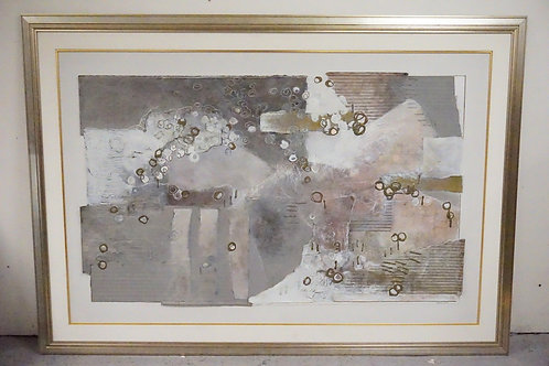 LARGE CONTEMPORARY MIXED MEDIA PAINTING. 57 X 78 INCHES.