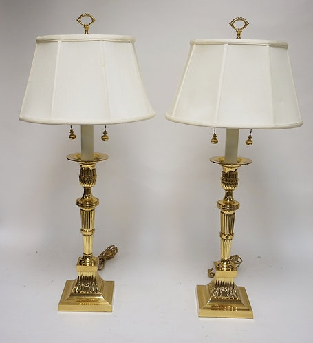 PAIR OF HEAVY BRASS TABLE LAMPS. 34 INCHES HIGH. PROBABLY STIFFEL.