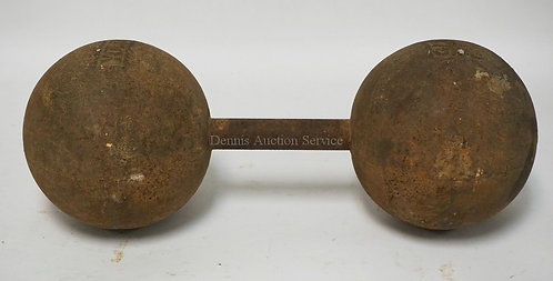 ANTIQUE *YORK* CAST IRON 75LB DUMBELL. 17 INCHES LONG.