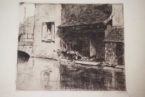 JACQUES BEURDELEY (1874-1954) ETCHING WITH PLATETONE OF A MAN KNEELING BY A CANA