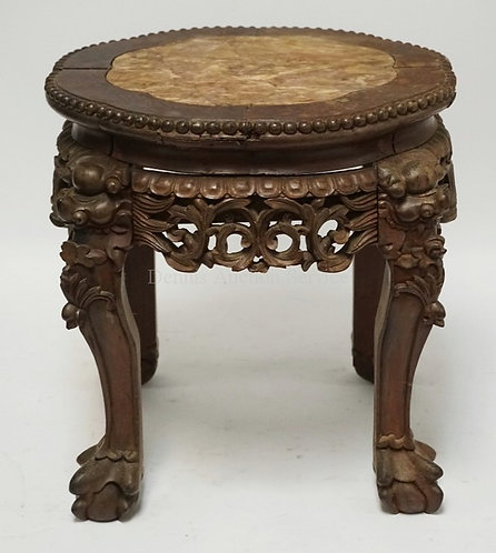 ASIAN CARVED HARDWOOD STAND WITH AN INSET MARBLE TOP. 15 INCHES HIGH.