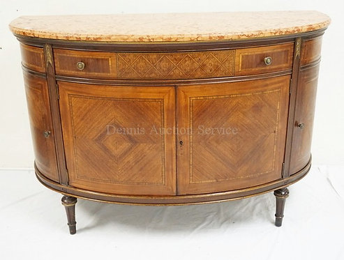 INLAID MARBLE TOP DEMILUNE CREDENZA. CUSTOM MADE BY THE LEONARDO CO, NEW YORK.