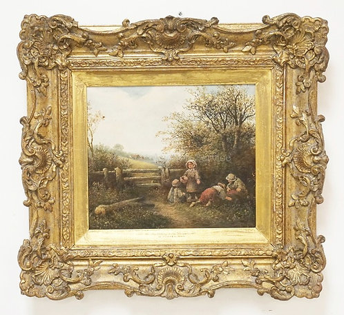 1003_WILLIAM FOSTER (1853-1924) OIL PAINTING ON CANVAS TITLED *GATHERING WILD FL