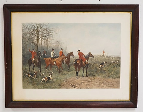 FOX HUNT PRINT TITLED *DRAWING THE GORSE* AFTER HEYWOOD HARDY. 29 1/4 X 19 1/2 I