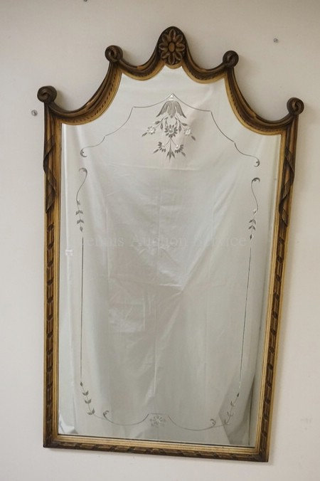 CARVED WALL MIRROR WITH CUT DECORATION IN THE GLASS. 48 1/2 X 27 1/2 INCHES