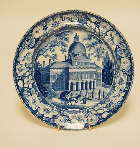 ANTIQUE HISTORIC BLUE TRANSFERWARE PLATE HAVING THE IMAGE OF A LARGE BUILDING WI