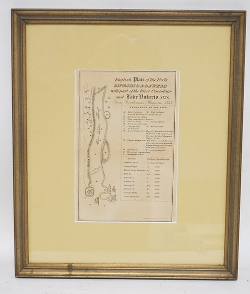 MAP OF THE ENGLISH PLAN OF THE FORTS ONTARIO & OSWEGO. FRAMED AND MATTED. 5 3/4