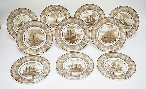 1011_SET OF 10 WEDGWOOD *AMERICAN SAILING SHIP PLATES*. 10 3/4 INCH DIA.