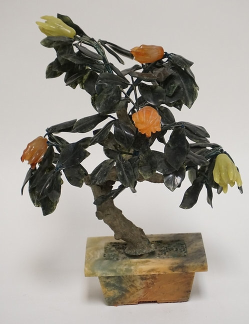 1103_ASIAN CARVED JADE TREE MEASURING 12 1/2 INCHES HIGH.