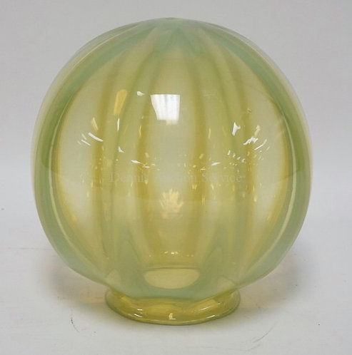 OPALESCENT RIBBED VASELINE GLASS BALL SHADE MEASURING 8 1/2 INCHES HIGH. 3 15/16
