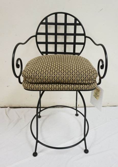 TIMMERMAN IRON FRAME SWIVEL ARM CHAIR WITH UPHOLSTERED SEAT. NEW FURNITURE LIQUI