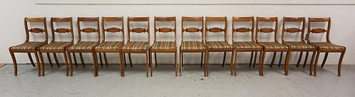 1079_SET OF 12 TELL CITY CHAIRS WITH CARVED SLATS.