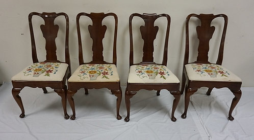 SET OF 4 STATTON CHERRY DINING CHAIRS. SEAT UPHOLSTERY IS WORN