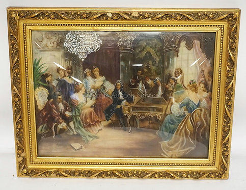 ITALIAN PAINTING OF A GROUP OF PEOPLE GATHERED PLAYING MUSIC AND SINGING. SIGNED