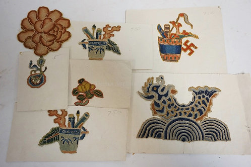 LOT OF 7 EMBROIDERED ASIAN PATCHES.
