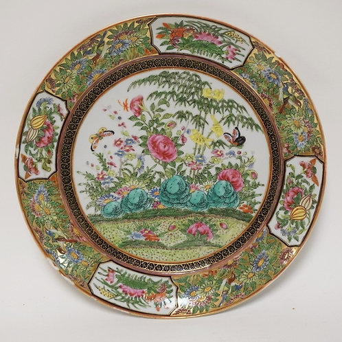 ANTIQUE ASIAN PORCELAIN PLATE DECORATED WITH BIRDS, FLOWERS, AND BUTTERFLIES. 9