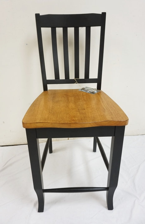 TENNESSEE ENTERPRISES WOODEN BAR CHAIR WITH BLACK PAINTED FRAME AND NATURAL GRAI