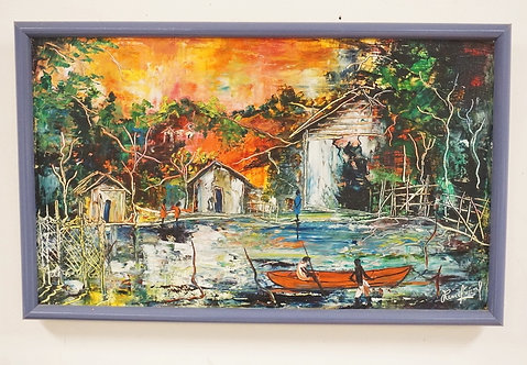 RENE JEROME (HAITIAN, 1942-1991) OIL PAINTING ON CANVAS OF A COLORFUL VILLAGE WI