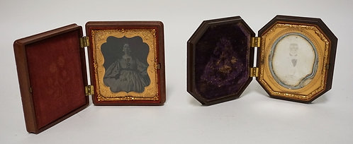 LOT OF 2 HARD CASED IMAGES, A LADY AND A GENTLEMAN. 3 3/8 IN X  3 3/4 IN